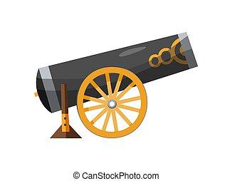 antigüedad, vendimia, fondo., cañón, estilo, imagen, caricatura, cannon., medieval, blanco, pirata, viejo, color, gun., barcos