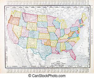 antigüedad, vendimia, mapa, estados unidos, américa, estados...