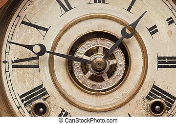 antigüedad, vendimia, reloj, usado, cara