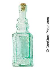 antigüedad, verde, botella, con, corcho