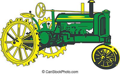 antigüedad, verde, tractor