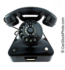 antigüedad, viejo, retro, teléfono., fijo, teléfono