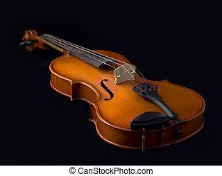 antigüedad, violín, encima, negro