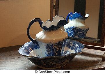 antigüedad, washbowl, colorido