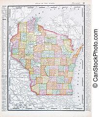 antigüedad, wisconsin, estados unidos de américa, mapa, color, vendimia