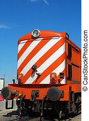 antigüedad, y, naranja, transporte, tren