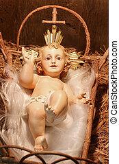 antigüedad, yeso, bebé jesús, en, pesebre, (closeup, de, un, natividad, scene)