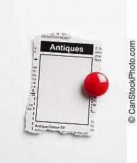 antigüedades, venta, anuncio