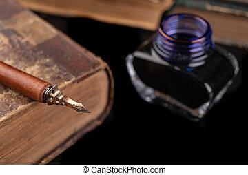 antigüidade, accessories., antigas, bico, escrita, escuro, tinta, caligrafia, tabela.