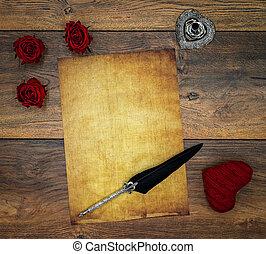 antigüidade, ame coração, em branco, levantar, rosas, ornate, pena, preachment