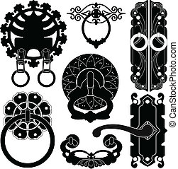 antigüidade, antiga, antigas, handl, fechadura, porta