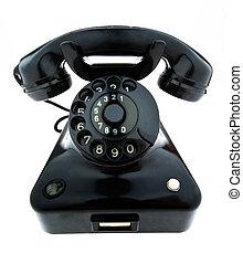 antigüidade, antigas, retro, telefone., fixo, telefone
