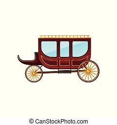 antigüidade, apartamento, porta, passageiros, vindima, windows., grande, carruagem, vetorial, veículo, vagão, táxi, horse-drawn, wheels., vermelho, ícone