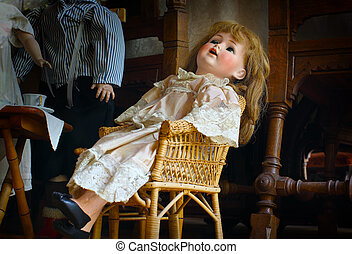 antigüidade, arrepiado, boneca