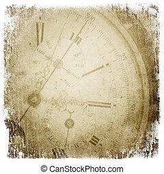antigüidade, bolso, relógio, face.