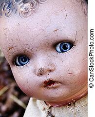 antigüidade, boneca, rosto