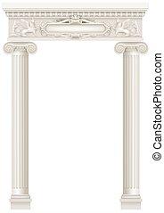 antigüidade, branca, colonnade, com, antigas, ionic, colunas