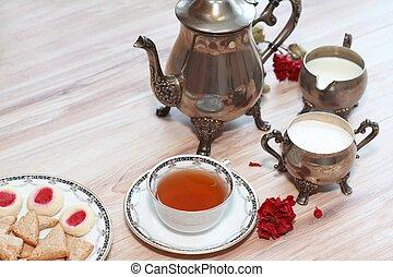 antigüidade, bule chá prata, jogo