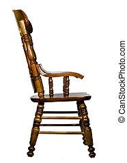 antigüidade, cadeira madeira, vista lateral