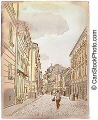 antigüidade, card., vindima, rua., poste, europeu
