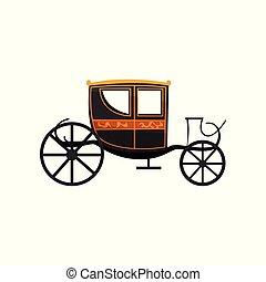 antigüidade, carruagem, ilustração, vetorial, retro, fundo, veículo, branca