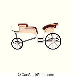 antigüidade, carruagem, ilustração, vetorial, retro, fundo, veículo, treinador, casório, branca