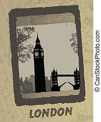antigüidade, cartaz, skyline, londres
