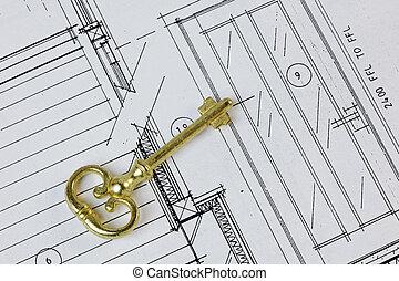 antigüidade, casa, plano, tecla