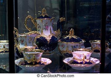 antigüidade, caso, jogo café, mostrar, porcelana