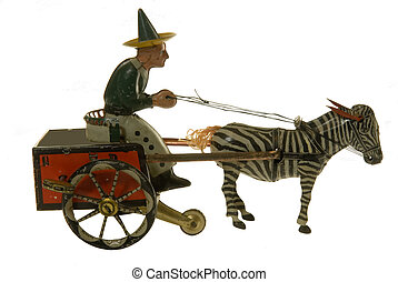antigüidade, cavalo buggy, brinquedo lata