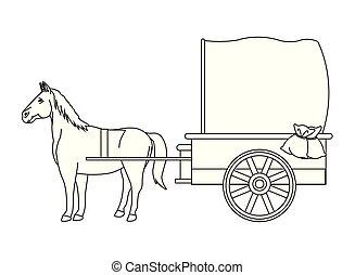 antigüidade, cavalo, carruagem, pretas, animal, branca, trator