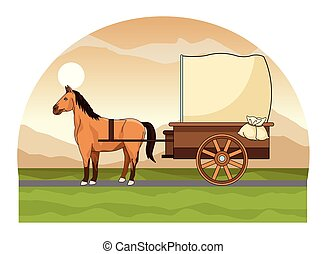antigüidade, cavalo, carruagem, trator, animal