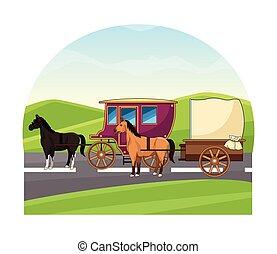 antigüidade, cavalo, carruagens, animal, trator