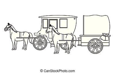 antigüidade, cavalo, pretas, animal, carruagens, branca, trator