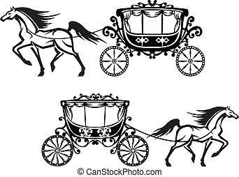 antigüidade, cavalos, decorado, carruagens