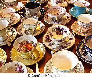 antigüidade, china, xícara chá, cobrança