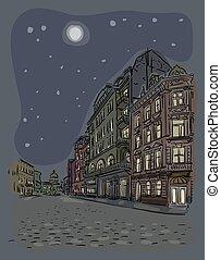 antigüidade, cidade, paisagem., rua., noturna, europeu