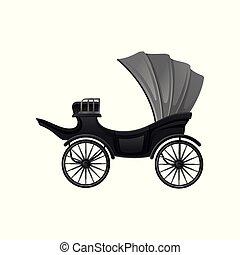 antigüidade, cinzento, grande, apartamento, vindima, topo, passageiros, carruagem, vetorial, pretas, vehicle., vagão, conversível, macio, wheels., ícone