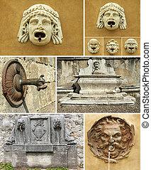 antigüidade, colagem, detalhes, fontes