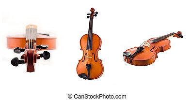 antigüidade, colagem, violino, isolado, vistas