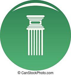 antigüidade, coluna, ícone, vetorial, verde