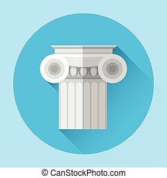 antigüidade, coluna, arquitetura grega, ícone