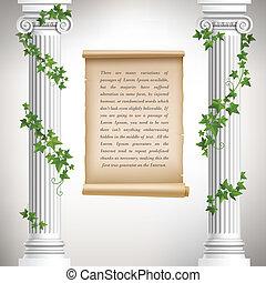 antigüidade, colunas, cartaz