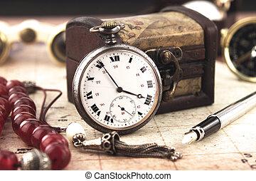 antigüidade, decoração, relógio, bolso, objetos, retro
