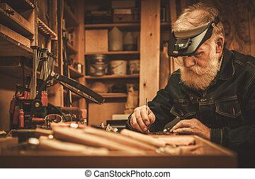 antigüidade, decoração, seu, trabalhando, restorer,...