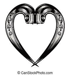 antigüidade, decorativo, emblema, coração