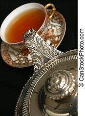 antigüidade, despejar, chinês, copo, chá, bule chá prata