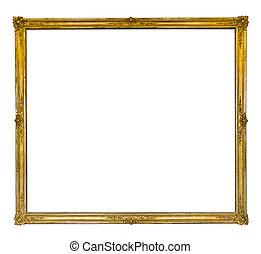 antigüidade, dourado, quadro, magra