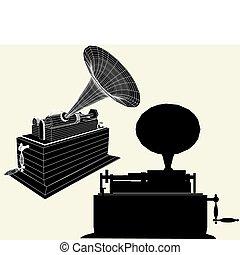 antigüidade, edison, gramophone