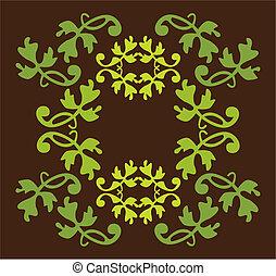 antigüidade, elemento, cores, vetorial, desenho, verde